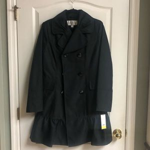 NWT DONATELLO BLACK TRRNCH COAT WITH RUFFLES SZ M